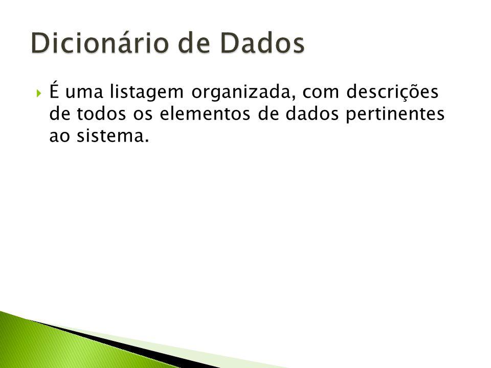 Dicionário de Dados É uma listagem organizada, com descrições de todos os elementos de dados pertinentes ao sistema.