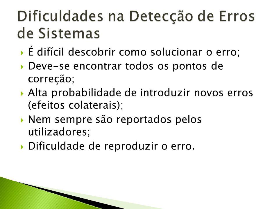 Dificuldades na Detecção de Erros de Sistemas