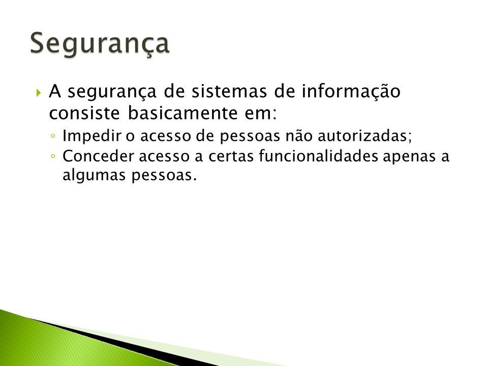 Segurança A segurança de sistemas de informação consiste basicamente em: Impedir o acesso de pessoas não autorizadas;