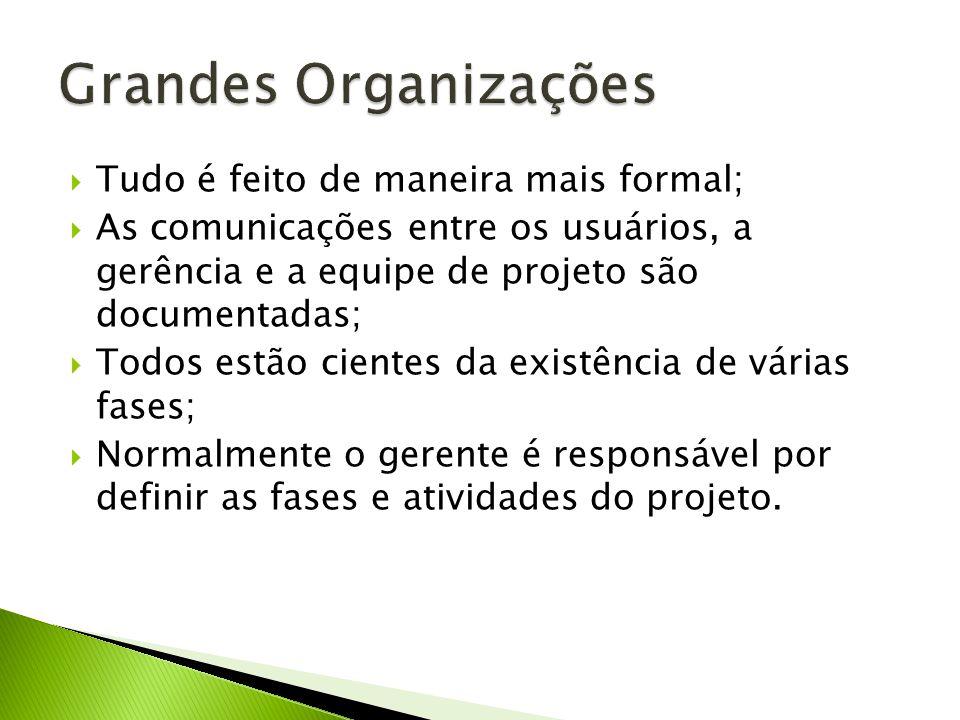 Grandes Organizações Tudo é feito de maneira mais formal;