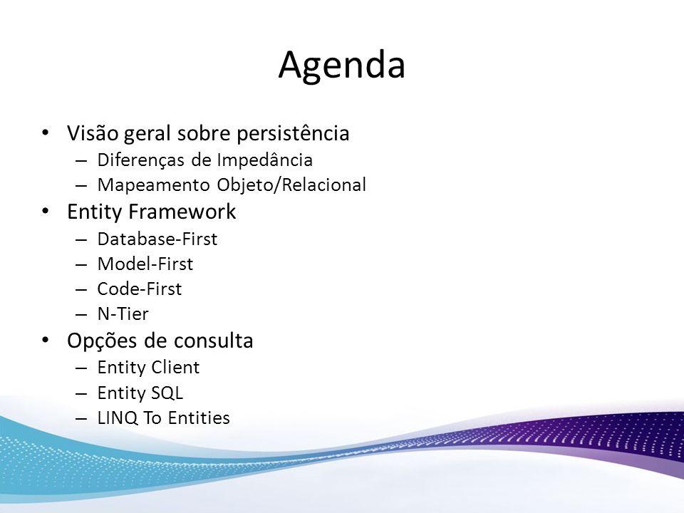 Agenda Visão geral sobre persistência Entity Framework