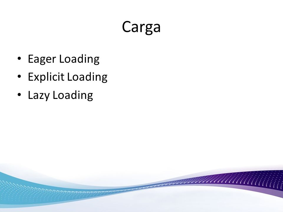 Carga Eager Loading Explicit Loading Lazy Loading