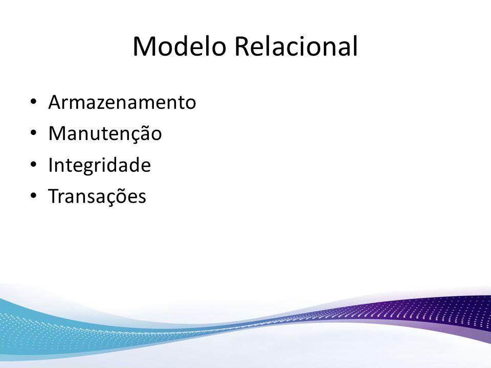 Modelo Relacional Armazenamento Manutenção Integridade Transações