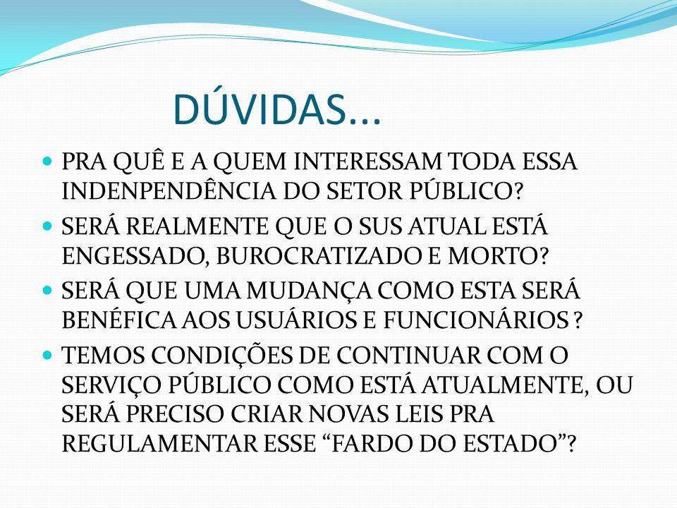 DÚVIDAS... PRA QUÊ E A QUEM INTERESSAM TODA ESSA INDENPENDÊNCIA DO SETOR PÚBLICO