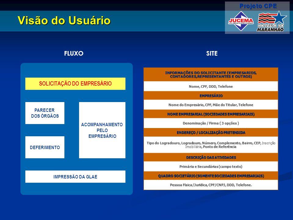 Visão do Usuário FLUXO SITE SOLICITAÇÃO DO EMPRESÁRIO PARECER