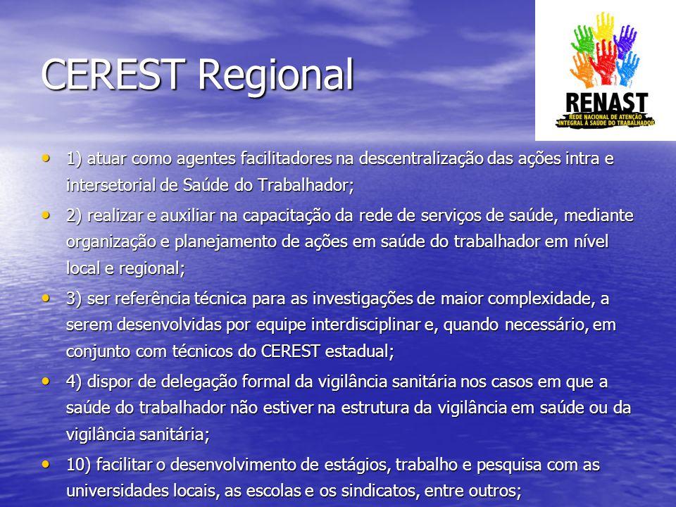 CEREST Regional 1) atuar como agentes facilitadores na descentralização das ações intra e intersetorial de Saúde do Trabalhador;