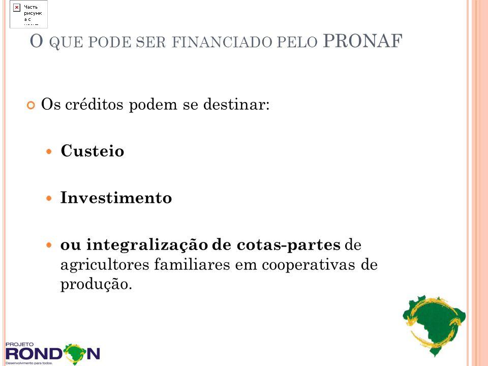 O que pode ser financiado pelo PRONAF