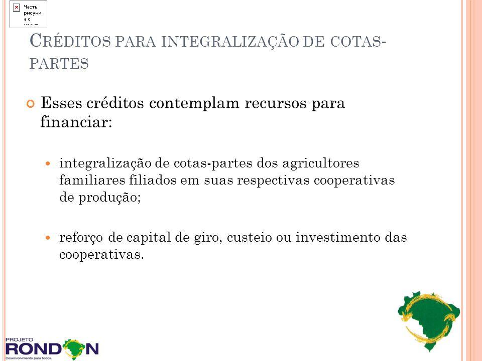 Créditos para integralização de cotas-partes