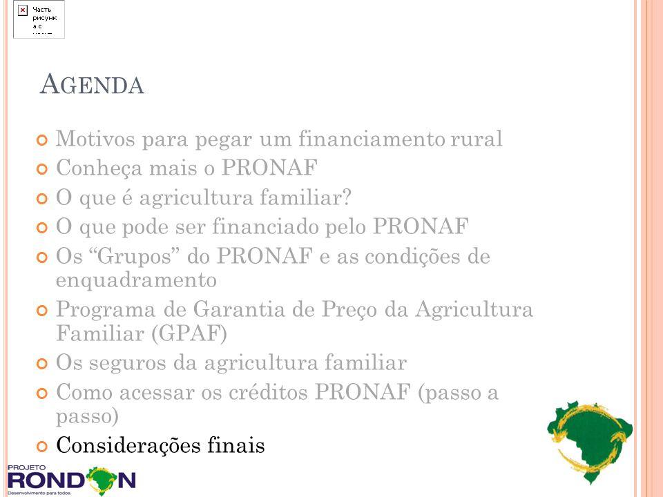 Agenda Motivos para pegar um financiamento rural Conheça mais o PRONAF