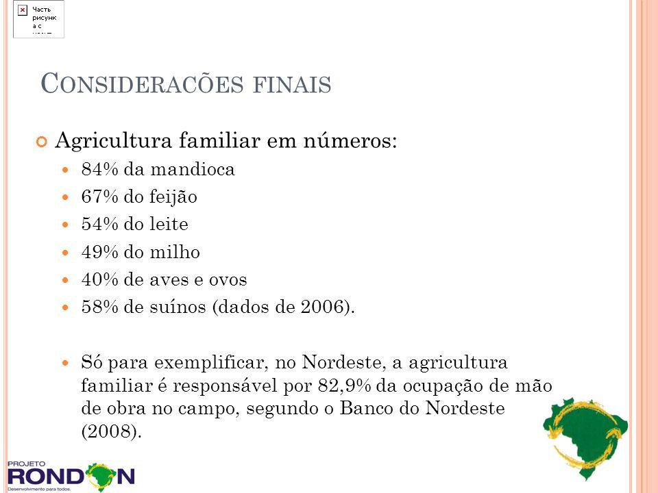 Consideracões finais Agricultura familiar em números: 84% da mandioca