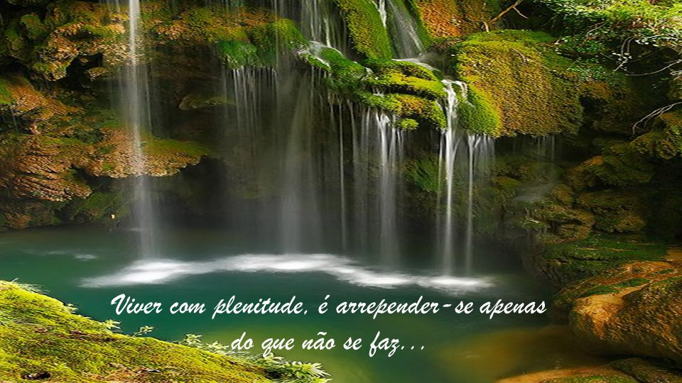 Viver com plenitude, é arrepender-se apenas do que não se faz...