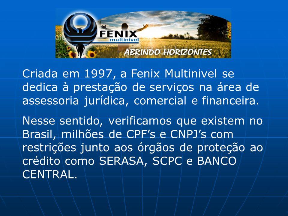 Criada em 1997, a Fenix Multinivel se dedica à prestação de serviços na área de assessoria jurídica, comercial e financeira.