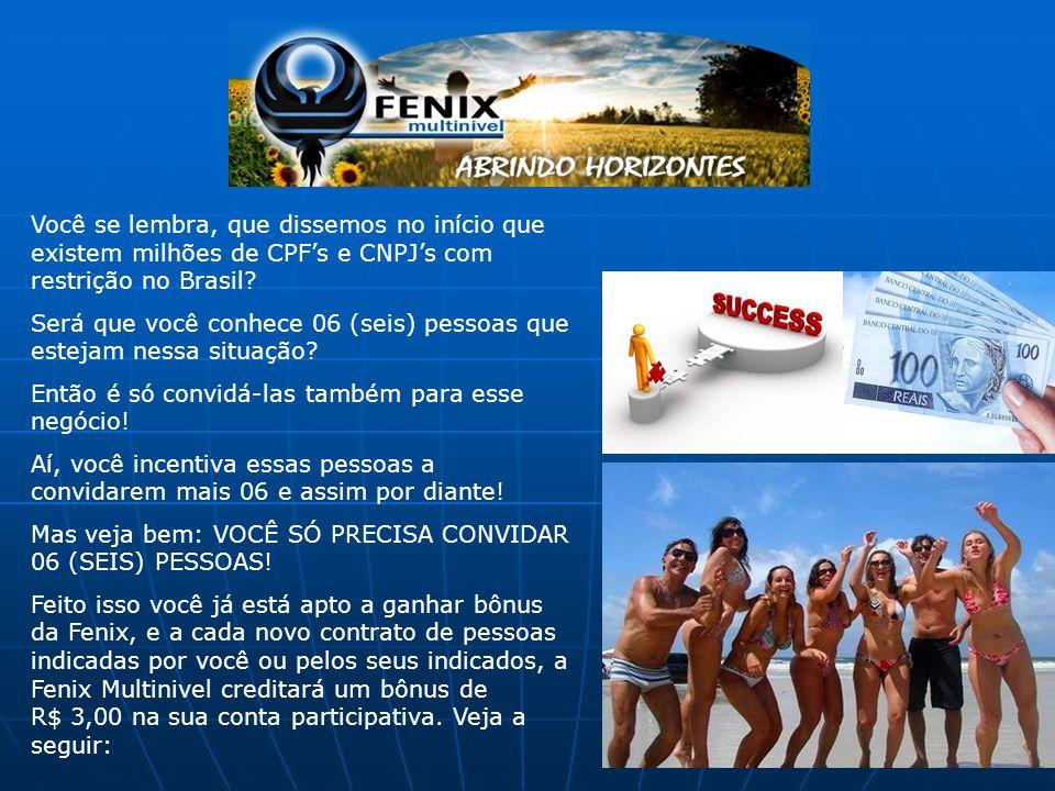 Você se lembra, que dissemos no início que existem milhões de CPF's e CNPJ's com restrição no Brasil