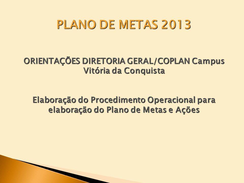 ORIENTAÇÕES DIRETORIA GERAL/COPLAN Campus Vitória da Conquista