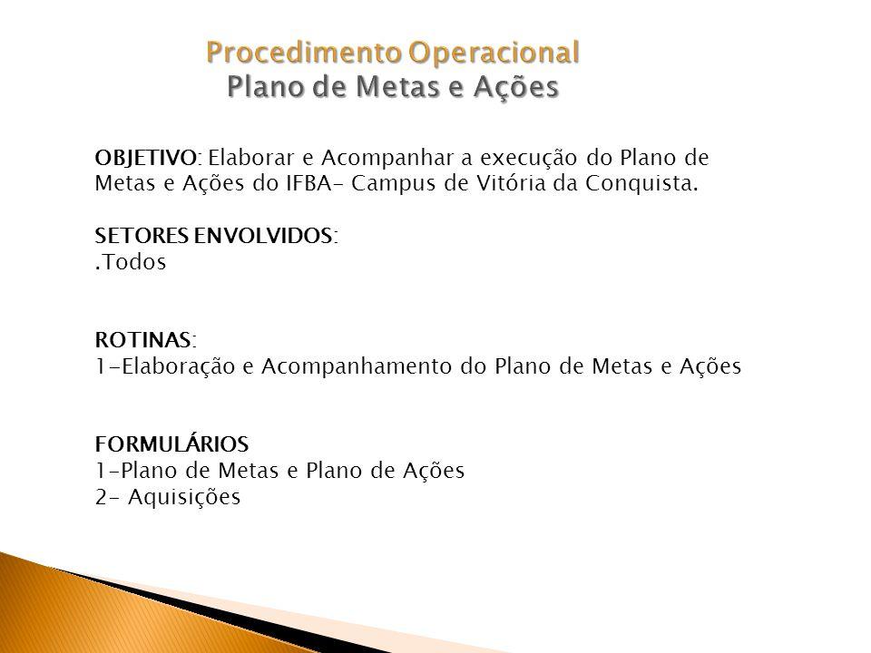 Procedimento Operacional Plano de Metas e Ações