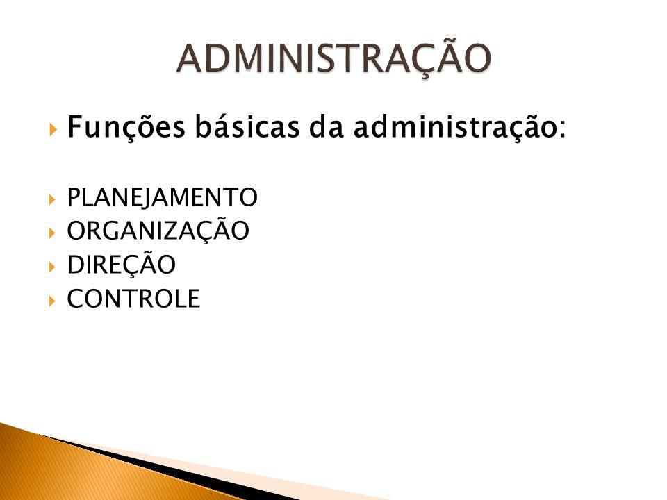 ADMINISTRAÇÃO Funções básicas da administração: PLANEJAMENTO