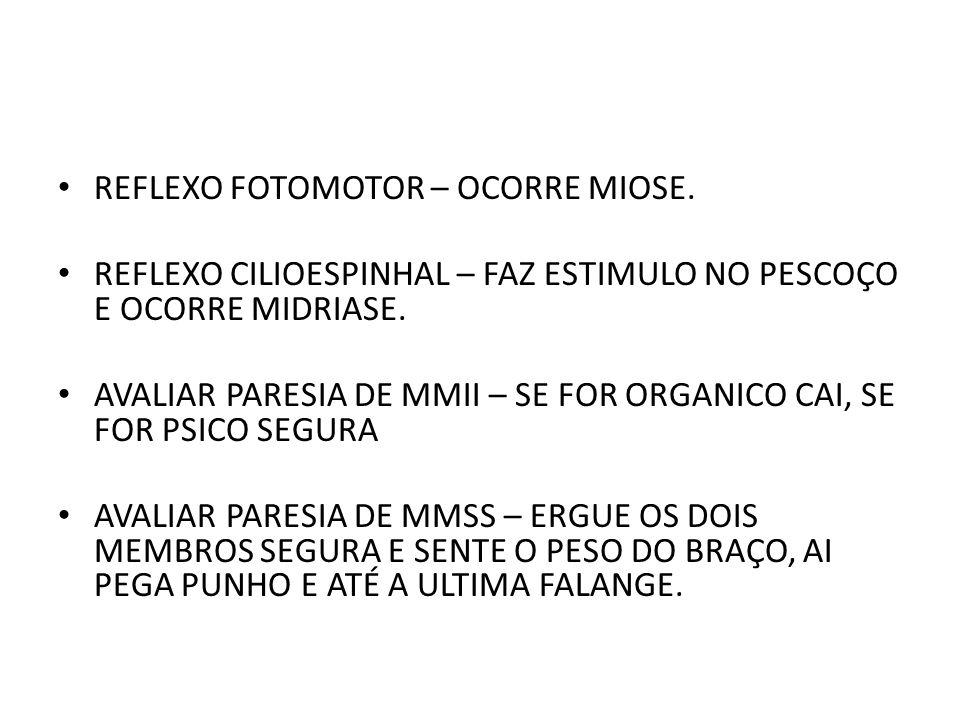 REFLEXO FOTOMOTOR – OCORRE MIOSE.