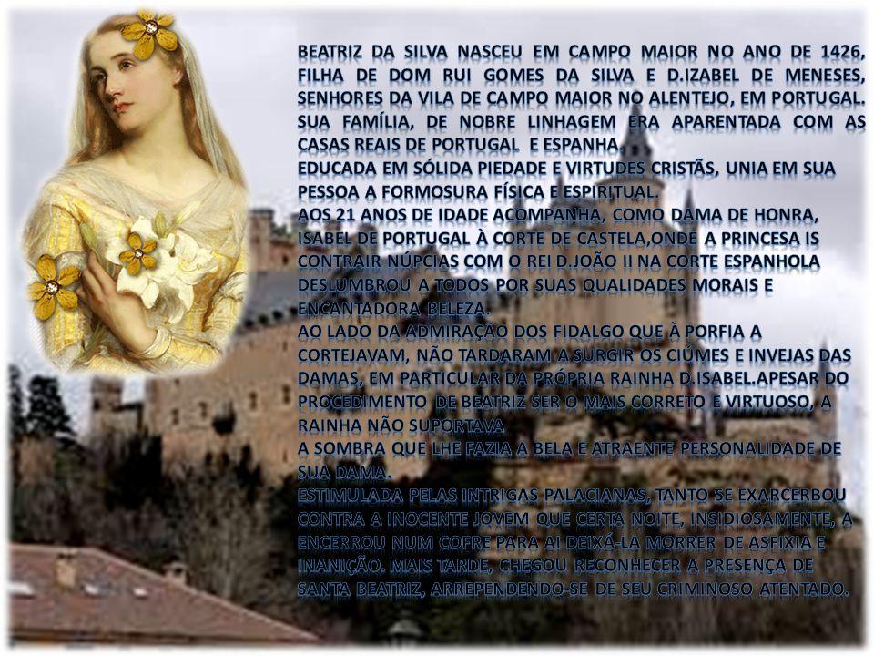 Beatriz da Silva nasceu em Campo Maior no ano de 1426, filha de Dom Rui Gomes da silva e D.Izabel de Meneses, senhores da vila de Campo Maior no Alentejo, em Portugal. Sua família, de nobre linhagem era aparentada com as casas reais de Portugal e Espanha.