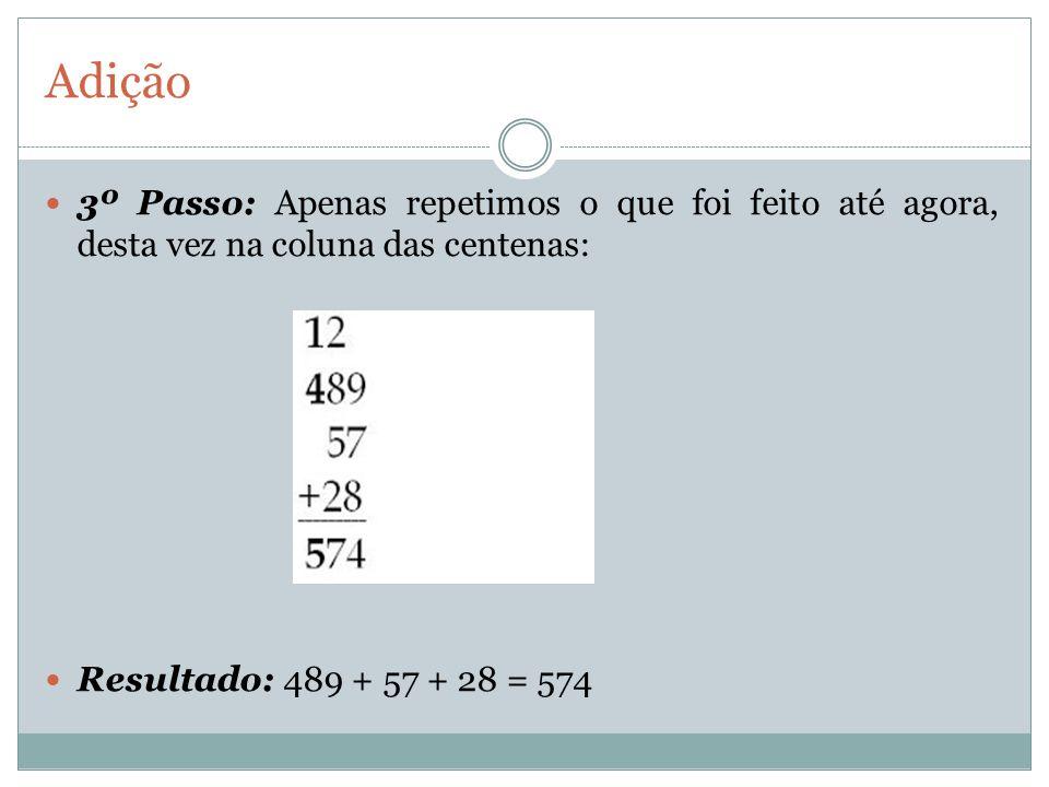 Adição 3º Passo: Apenas repetimos o que foi feito até agora, desta vez na coluna das centenas: Resultado: 489 + 57 + 28 = 574.