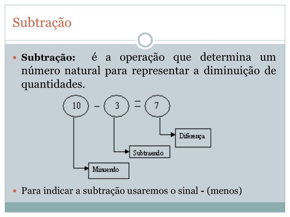 Subtração Subtração: é a operação que determina um número natural para representar a diminuição de quantidades.