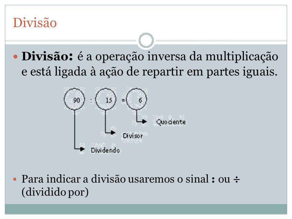 Divisão Divisão: é a operação inversa da multiplicação e está ligada à ação de repartir em partes iguais.