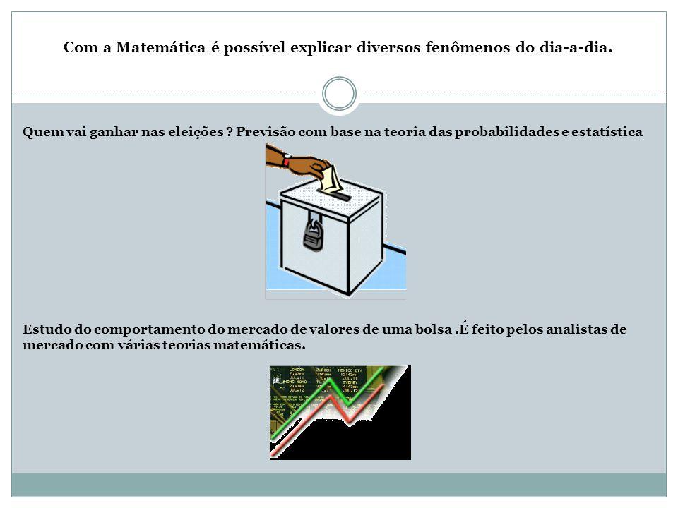 Com a Matemática é possível explicar diversos fenômenos do dia-a-dia.