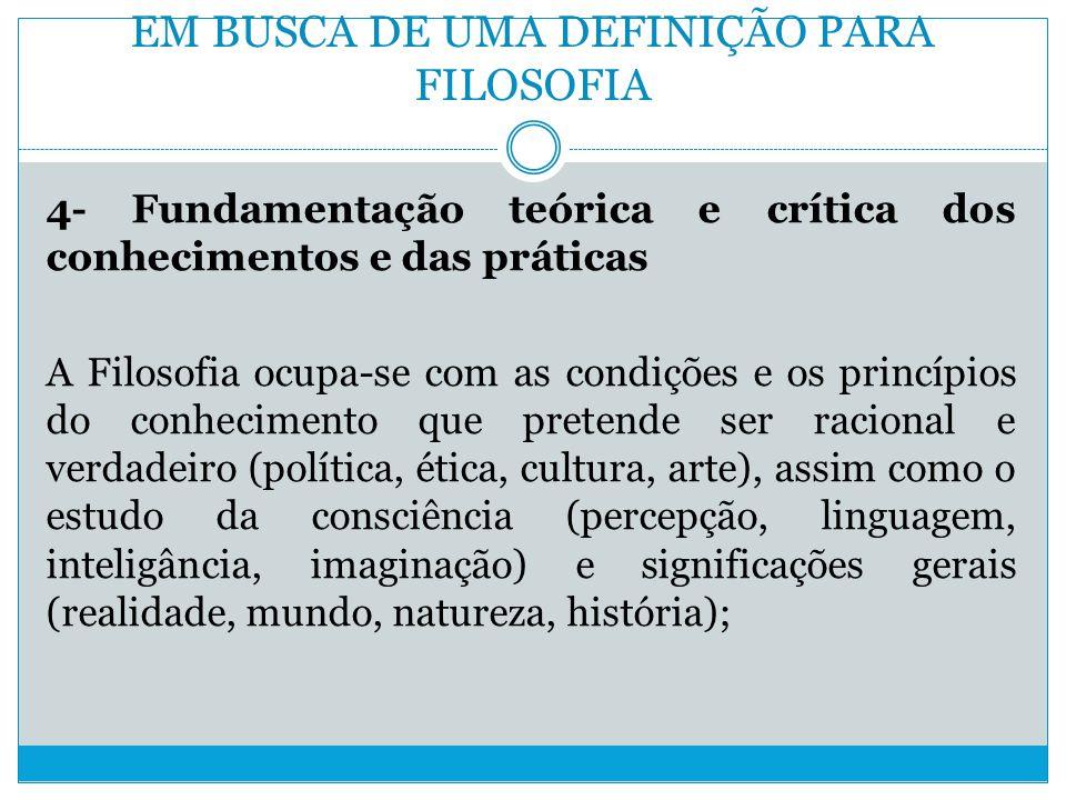 EM BUSCA DE UMA DEFINIÇÃO PARA FILOSOFIA