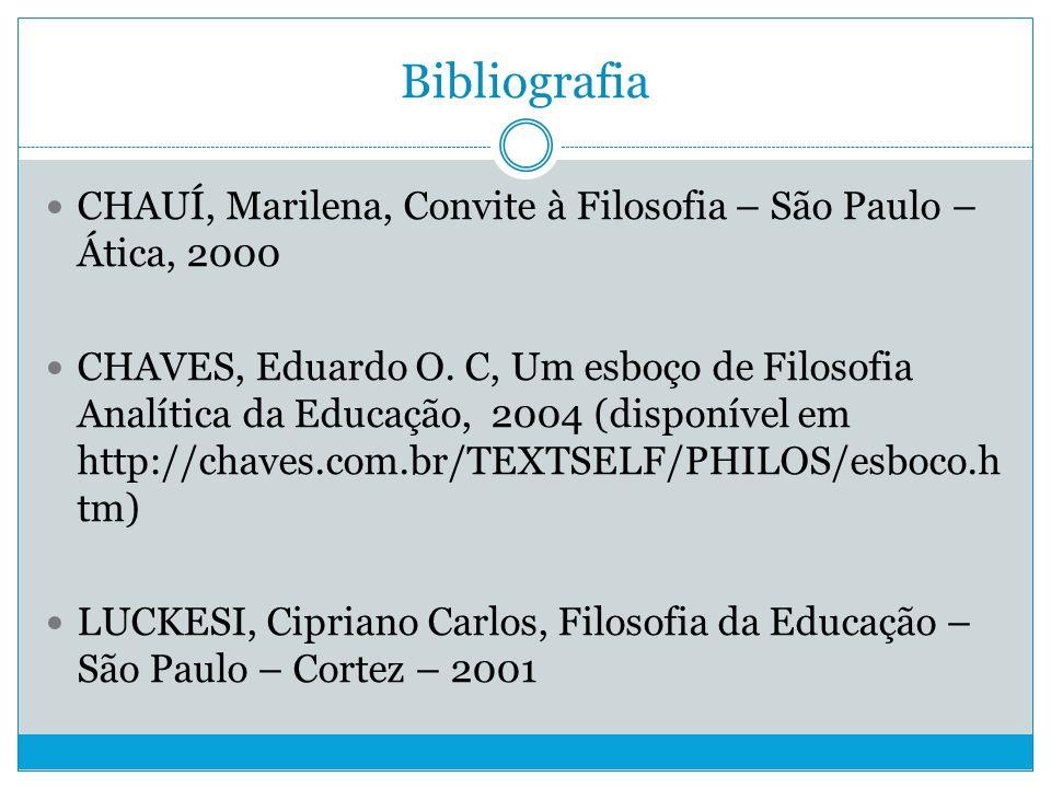 Bibliografia CHAUÍ, Marilena, Convite à Filosofia – São Paulo – Ática, 2000.