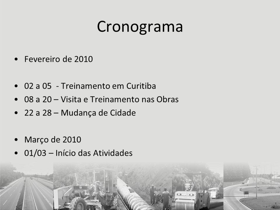 Cronograma Fevereiro de 2010 02 a 05 - Treinamento em Curitiba