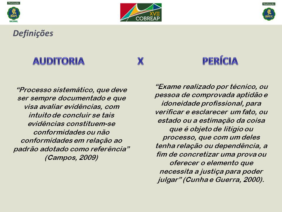 AUDITORIA X PERÍCIA Definições