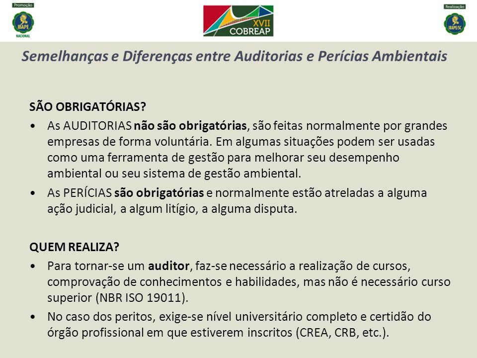 Semelhanças e Diferenças entre Auditorias e Perícias Ambientais