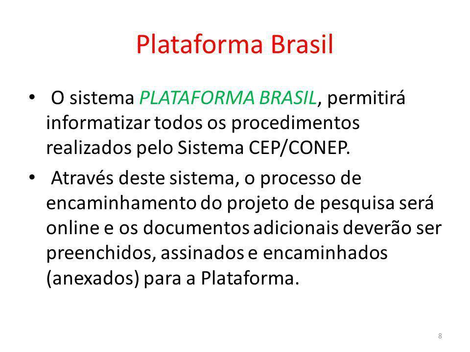 Plataforma Brasil O sistema PLATAFORMA BRASIL, permitirá informatizar todos os procedimentos realizados pelo Sistema CEP/CONEP.