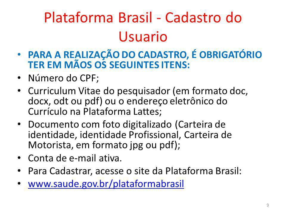 Plataforma Brasil - Cadastro do Usuario