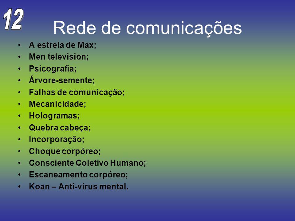 Rede de comunicações 12 A estrela de Max; Men television; Psicografia;