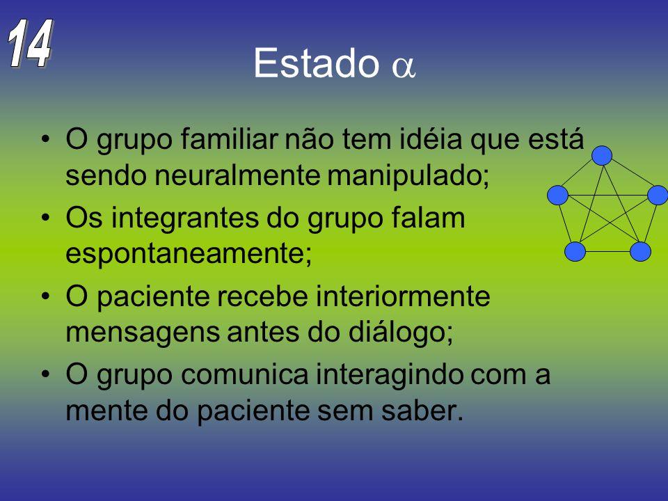 14 Estado a. O grupo familiar não tem idéia que está sendo neuralmente manipulado; Os integrantes do grupo falam espontaneamente;