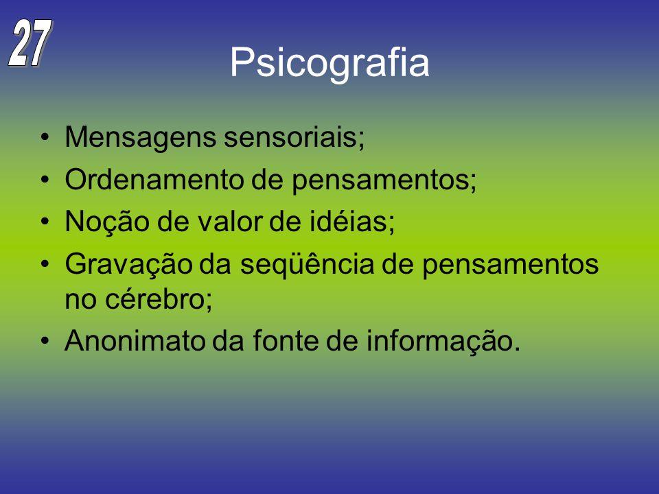 Psicografia 27 Mensagens sensoriais; Ordenamento de pensamentos;
