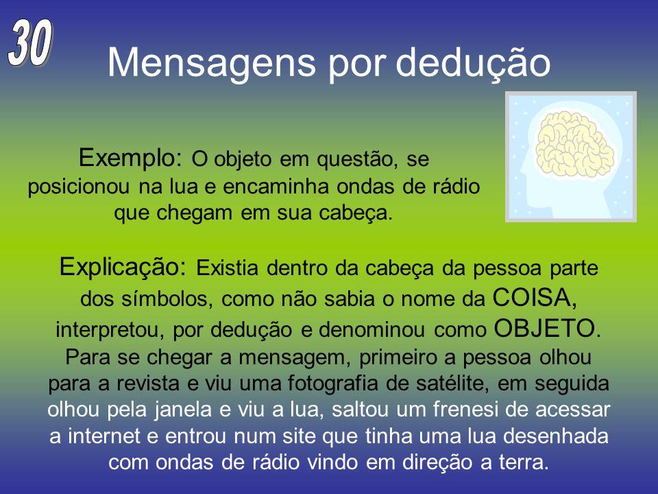30 Mensagens por dedução. Exemplo: O objeto em questão, se posicionou na lua e encaminha ondas de rádio que chegam em sua cabeça.