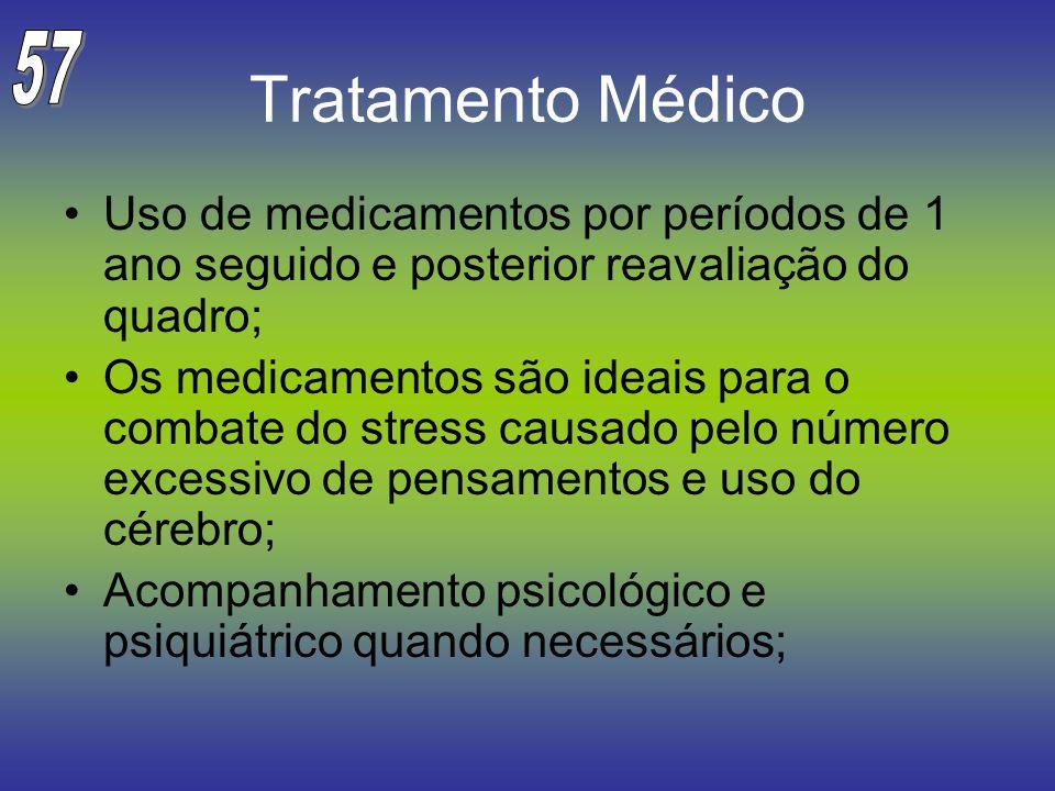 57 Tratamento Médico. Uso de medicamentos por períodos de 1 ano seguido e posterior reavaliação do quadro;
