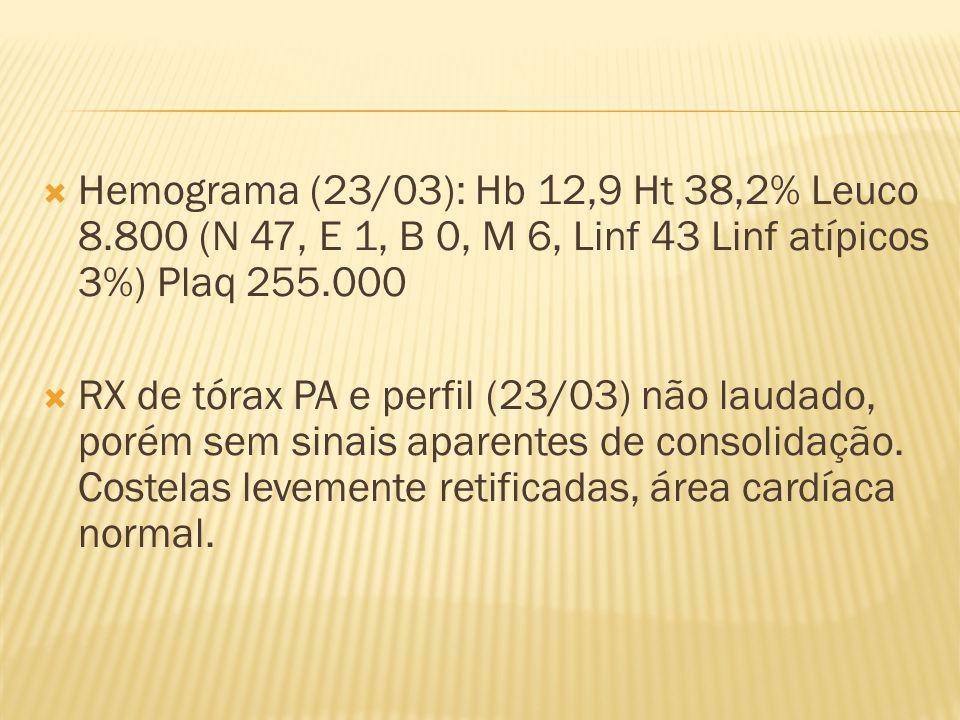Hemograma (23/03): Hb 12,9 Ht 38,2% Leuco 8