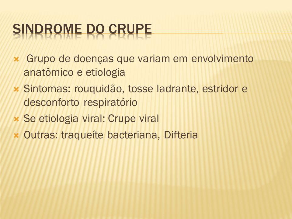 Sindrome do crupe Grupo de doenças que variam em envolvimento anatômico e etiologia.