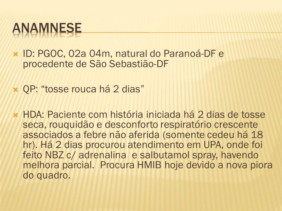 Anamnese ID: PGOC, 02a 04m, natural do Paranoá-DF e procedente de São Sebastião-DF. QP: tosse rouca há 2 dias