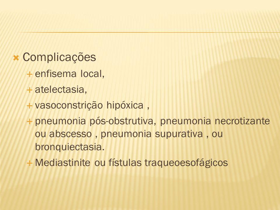 Complicações enfisema local, atelectasia, vasoconstrição hipóxica ,