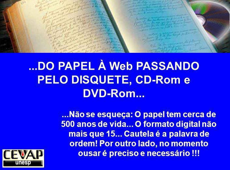 ...DO PAPEL À Web PASSANDO PELO DISQUETE, CD-Rom e DVD-Rom...
