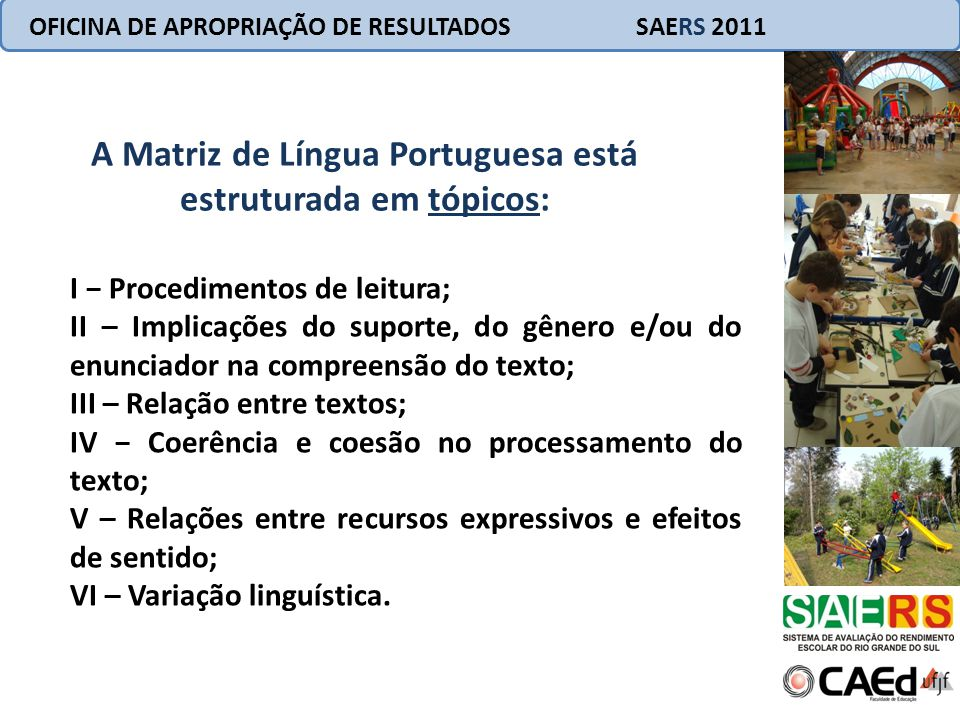 A Matriz de Língua Portuguesa está estruturada em tópicos: