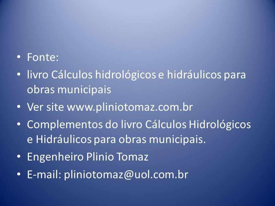 Fonte: livro Cálculos hidrológicos e hidráulicos para obras municipais. Ver site www.pliniotomaz.com.br.