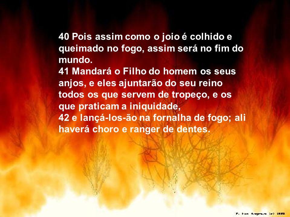 40 Pois assim como o joio é colhido e queimado no fogo, assim será no fim do mundo.