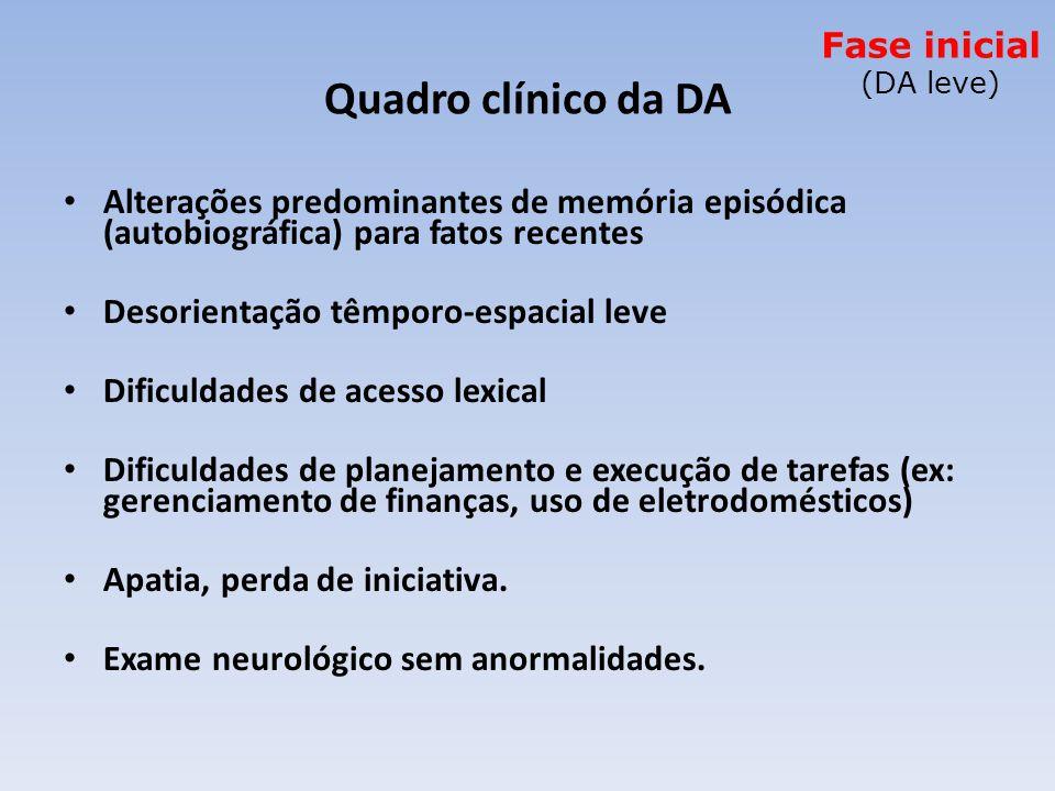 Fase inicial (DA leve) Quadro clínico da DA. Alterações predominantes de memória episódica (autobiográfica) para fatos recentes.