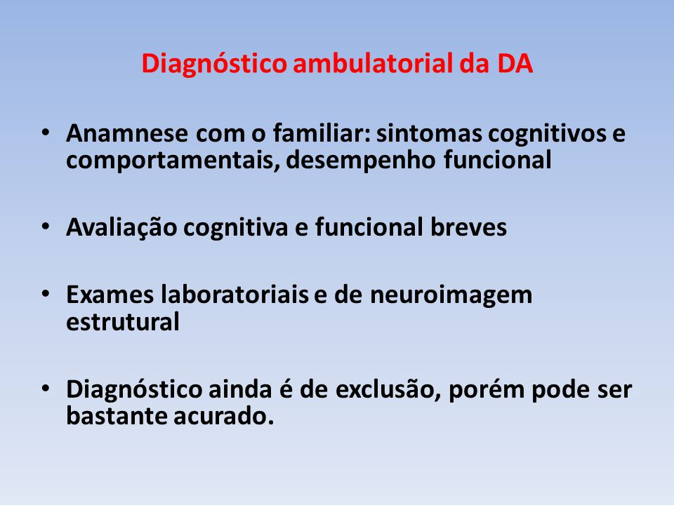 Diagnóstico ambulatorial da DA