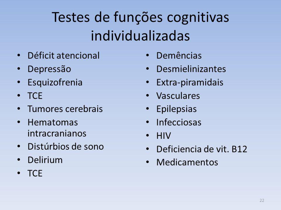 Testes de funções cognitivas individualizadas