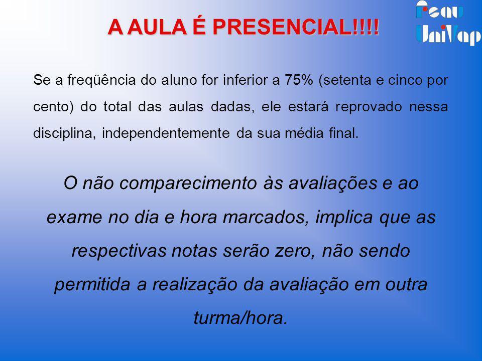 A AULA É PRESENCIAL!!!!